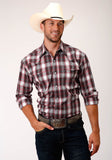 MENS RED WHITE AND BLACK PLAID LONG SLEEVE SNAP WESTERN SHIRT