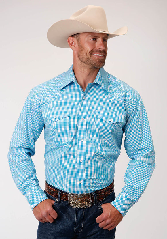 MENS TURQUOISE AND WHITE MINI CHECK LONG SLEEVE SNAP WESTERN SHIRT