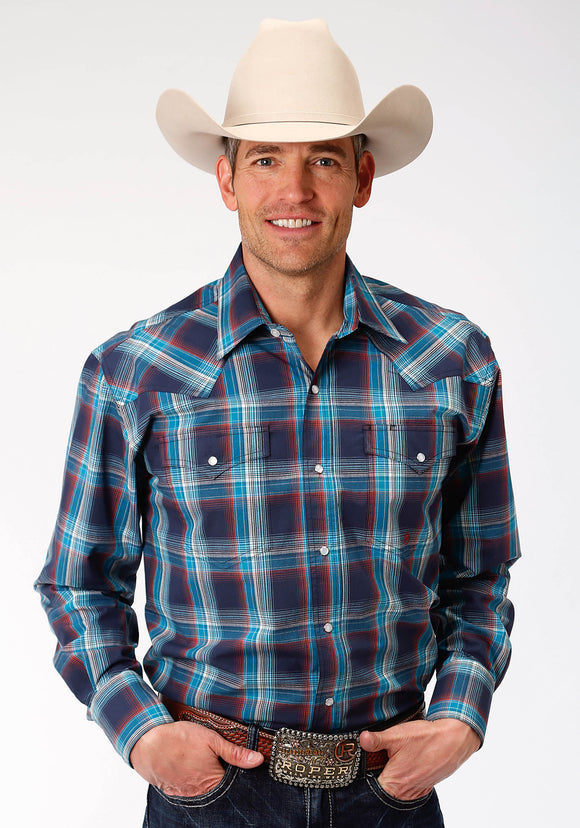 MENS NAVY BLUE AND RED PLAID LONG SLEEVE WESTERN SNAP SHIRT