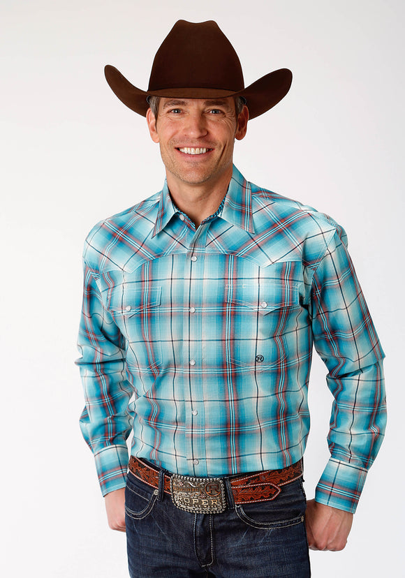 MENS BLUE AND ORANGE PLAID LONG SLEEVE WESTERN SNAP SHIRT