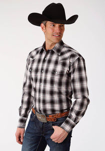 MENS BLACK WHITE AND RED PLAID LONG SLEEVE WESTERN SNAP SHIRT