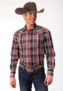 MENS RED BLACK AND BLUE PLAID LONG SLEEVE WESTERN SNAP SHIRT