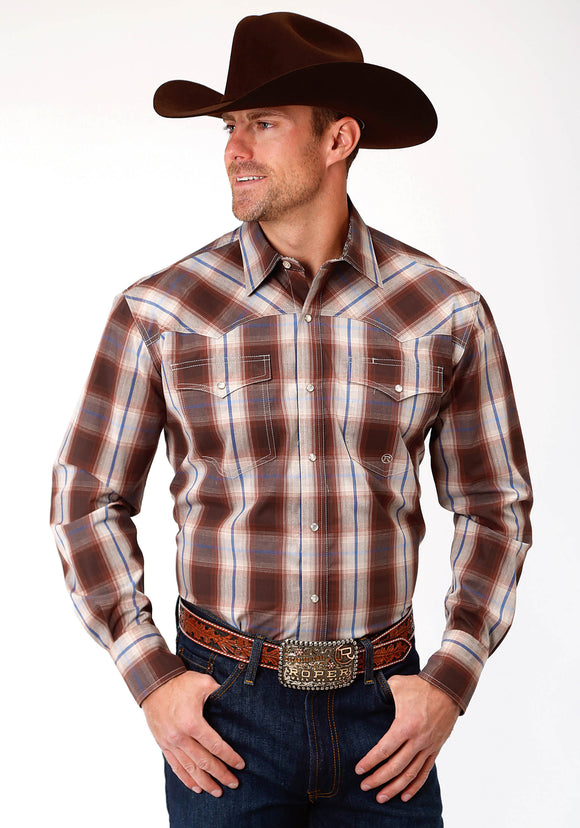 MENS BROWN BLUE AND WHITE PLAID LONG SLEEVE WESTERN SNAP SHIRT