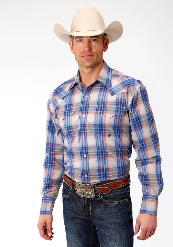 MENS BLUE ORANGE AND CREAM PLAID LONG SLEEVE WESTERN SNAP SHIRT