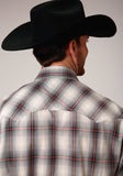 MENS GRAY WHITE AND RED PLAID LONG SLEEVE SNAP WESTERN SHIRT
