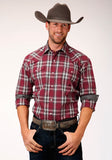 MENS RED WHITE AND BROWN PLAID LONG SLEEVE SNAP WESTERN SHIRT