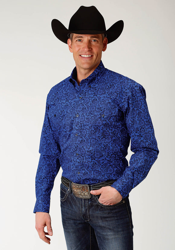 MENS BLUE FLORAL PRINT LONG SLEEVE WESTERN BUTTON SHIRT