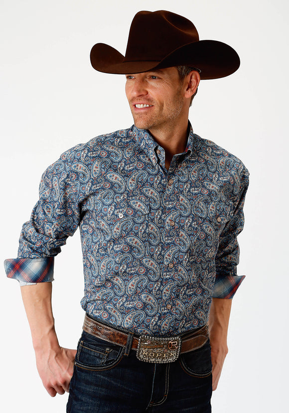 MENS BLUE PAISLEY PRINT LONG SLEEVE WESTERN BUTTON SHIRT
