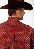 MENS RED FOULARD PRINT LONG SLEEVE WESTERN BUTTON SHIRT