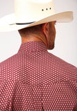 MENS RED AND WHITE FOULARD PRINT LONG SLEEVE BUTTON WESTERN SHIRT