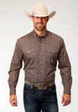 MENS BROWN FOULARD PRINT LONG SLEEVE WESTERN BUTTON SHIRT
