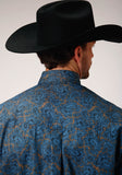 MENS BLUE GROUND PAISLEY PRINT LONG SLEEVE BUTTON WESTERN SHIRT