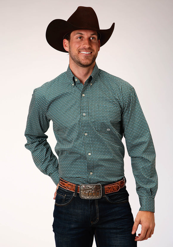 MENS GREEN AND WHITE GEO PRINT LONG SLEEVE BUTTON WESTERN SHIRT