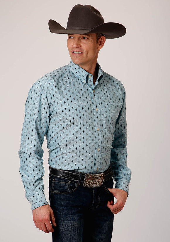 MENS BLUE AND BLACK MINI AZTEC PRINT STRETCH OXFORD LONG SLEEVE BUTTON WESTERN SHIRT