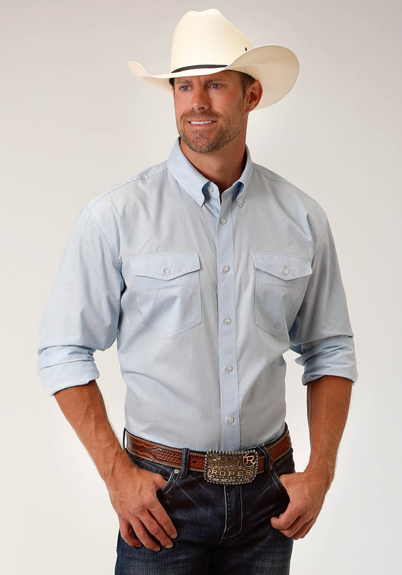 MENS BLUE SOLID LONG SLEEVE WESTERN BUTTON SHIRT