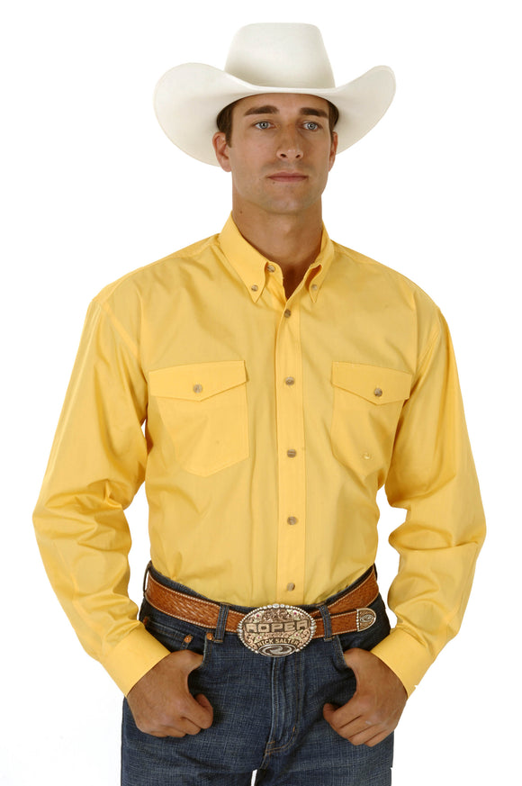 MENS YELLOW SOLID LONG SLEEVE WESTERN BUTTON SHIRT