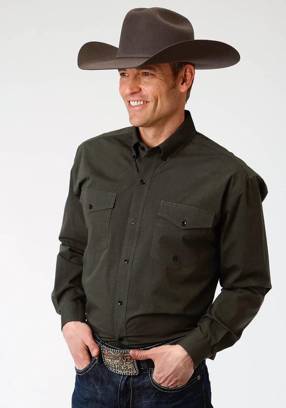 MENS OLIVE GREEN SOLID LONG SLEEVE WESTERN BUTTON SHIRT