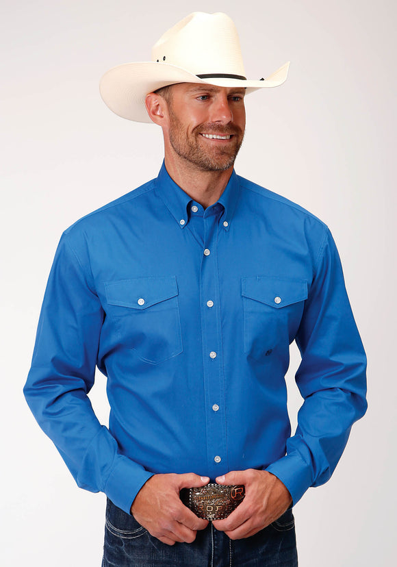 MENS ROYAL BLUE SOLID POPLIN LONG SLEEVE BUTTON WESTERN SHIRT
