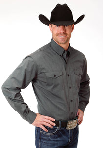 MENS GREY SOLID LONG SLEEVE WESTERN BUTTON SHIRT