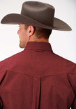 MENS RED SOLID LONG SLEEVE WESTERN BUTTON SHIRT