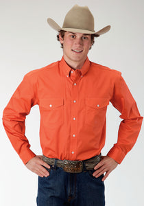 MENS ORANGE SOLID LONG SLEEVE WESTERN BUTTON SHIRT