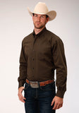 MENS BROWN SOLID BLACK FILL TWILL  LONG SLEEVE BUTTON WESTERN SHIRT