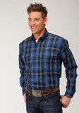 MENS BLUE ORANGE AND BLACK PLAID LONG SLEEVE WESTERN BUTTON SHIRT