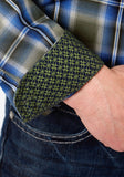 MENS GREEN BLUE AND BLACK PLAID LONG SLEEVE WESTERN BUTTON SHIRT
