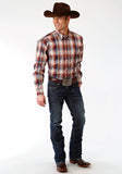 MENS BLUE AND ORANGE PLAID LONG SLEEVE WESTERN BUTTON SHIRT
