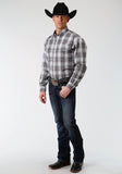 MENS GRAY BLUE AND WHITE PLAID LONG SLEEVE BUTTON WESTERN SHIRT