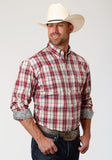 MENS RED WHITE AND BLUE PLAID LONG SLEEVE BUTTON WESTERN SHIRT