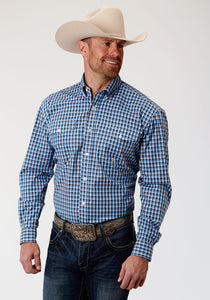 MENS TURQUOISE WHITE AND NAVY BLUE SMALL CHECK PLAID LONG SLEEVE BUTTON WESTERN SHIRT