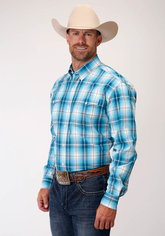 MENS BLUE WHITE AND BROWN PLAID LONG SLEEVE BUTTON WESTERN SHIRT
