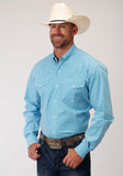 MENS TURQUOISE AND WHITE MINI CHECK LONG SLEEVE BUTTON WESTERN SHIRT