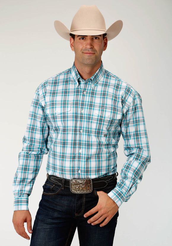 MENS BLUE TURQUOISE AND BLACK LONG SLEEVE WESTERN BUTTON SHIRT