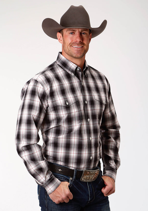 MENS BLACK WHITE AND RED PLAID LONG SLEEVE WESTERN BUTTON SHIRT