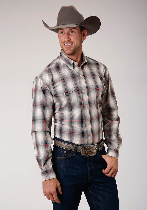 MENS GRAY WHITE AND RED PLAID LONG SLEEVE BUTTON WESTERN SHIRT