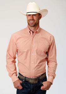 MENS ORANGE AND WHIT MINI CHECK LONG SLEEVE BUTTON WESTERN SHIRT