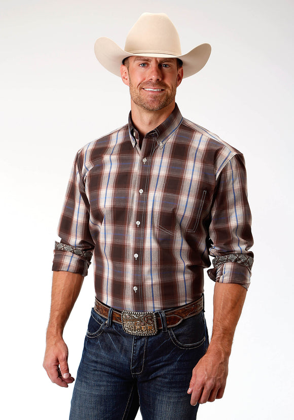 MENS BROWN BLUE AND WHITE PLAID LONG SLEEVE WESTERN BUTTON SHIRT