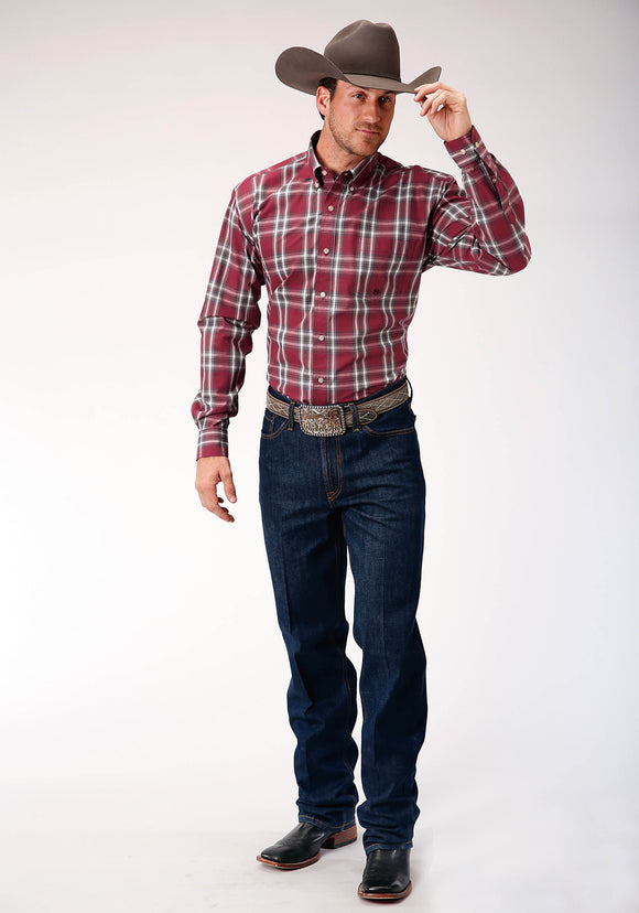 MENS RED WHITE AND BROWN PLAID LONG SLEEVE BUTTON WESTERN SHIRT