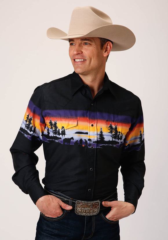 MENS BLACK PURPLE ORANGE AND YELLOW SUNSET BORDER PRINT LONG SLEEVE SNAP WESTERN SHIRT