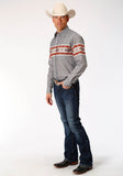 MENS SERAPE BORDER LONG SLEEVE WESTERN SNAP SHIRT