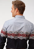 MENS BLANKET BORDER LONG SLEEVE WESTERN SNAP SHIRT