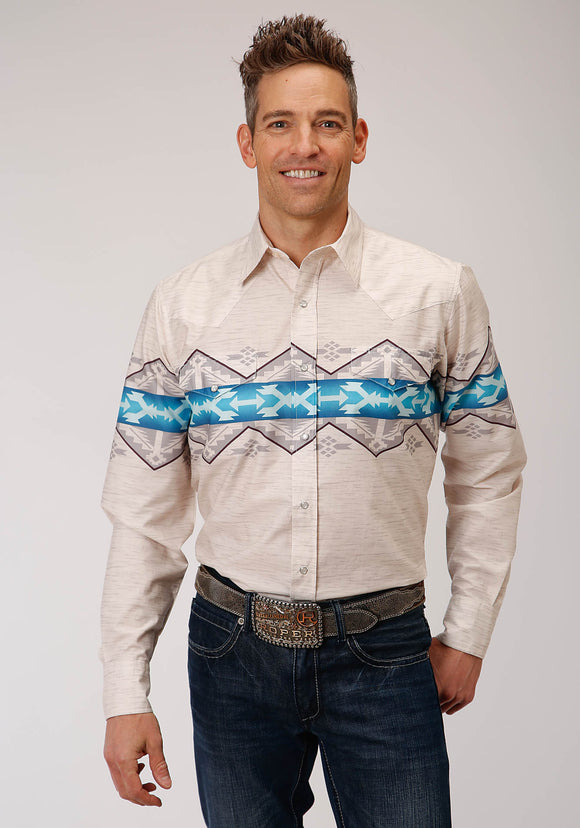 MENS WHITE GRAY AND BLUE AZTEC BORDER PRINT LONG SLEEVE SNAP WESTERN SHIRT