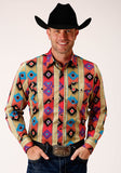 MENS BROWN TURQUOISE ORANGE AND BLACK PRINT LONG SLEEVE SNAP WESTERN SHIRT