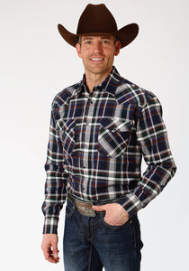MENS GREEN NAVY AND BROWN PLAID LONG SLEEVE WESTERN SNAP SHIRT