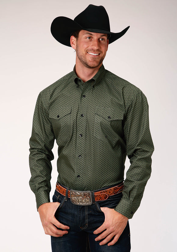 MENS GREEN AND BLACK STAR FOULARD PRINT LONG SLEEVE BUTTON WESTERN SHIRT TALL FIT