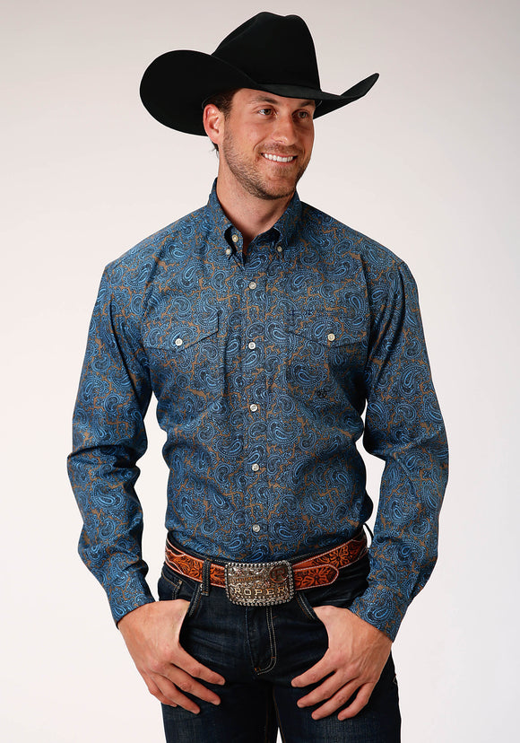 MENS BLUE GROUND PAISLEY PRINT LONG SLEEVE BUTTON WESTERN SHIRT TALL FIT