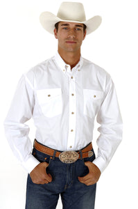 MENS WHITE SOLID LONG SLEEVE WESTERN BUTTON SHIRT TALL FIT