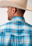MENS BLUE WHITE AND BROWN PLAID LONG SLEEVE BUTTON WESTERN SHIRT TALL FIT